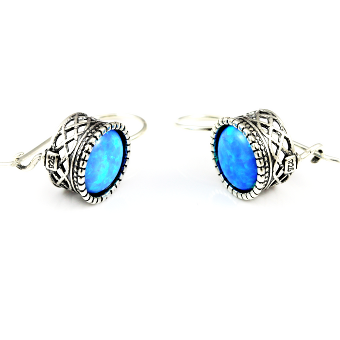 Blue Created Opal Round Silver Earrings