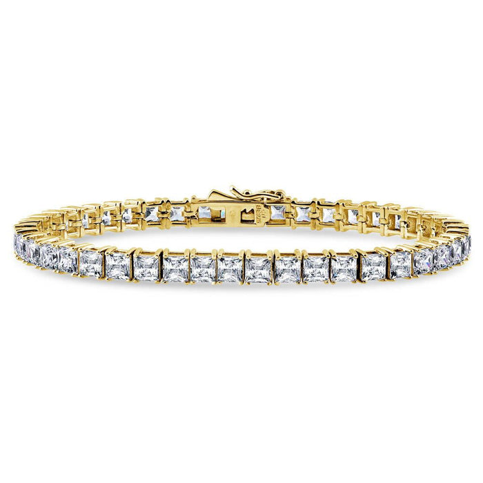 Gold Princess Cut Tennis Bracelet made with Swarovski® Zirconia