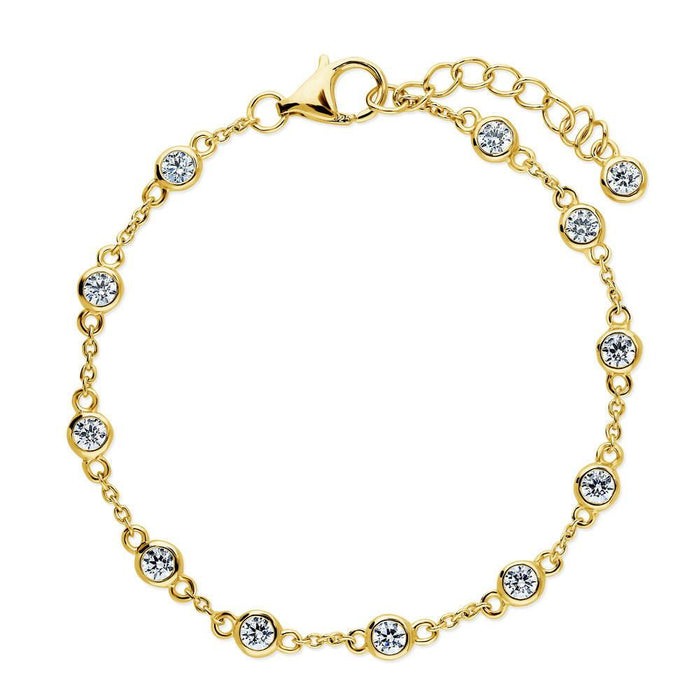 Station Bracelet Made with Swarovski® Zirconia - Gold