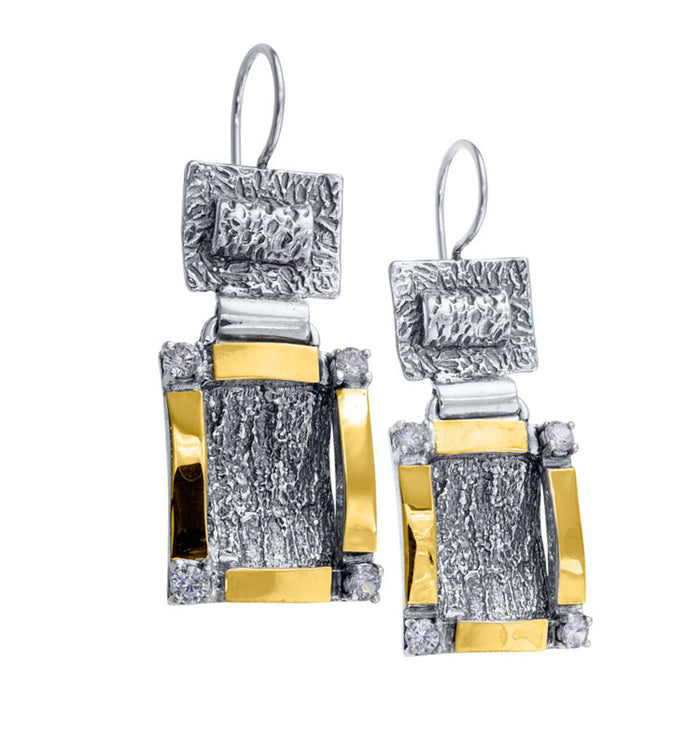 Silver & Gold Square Earrings