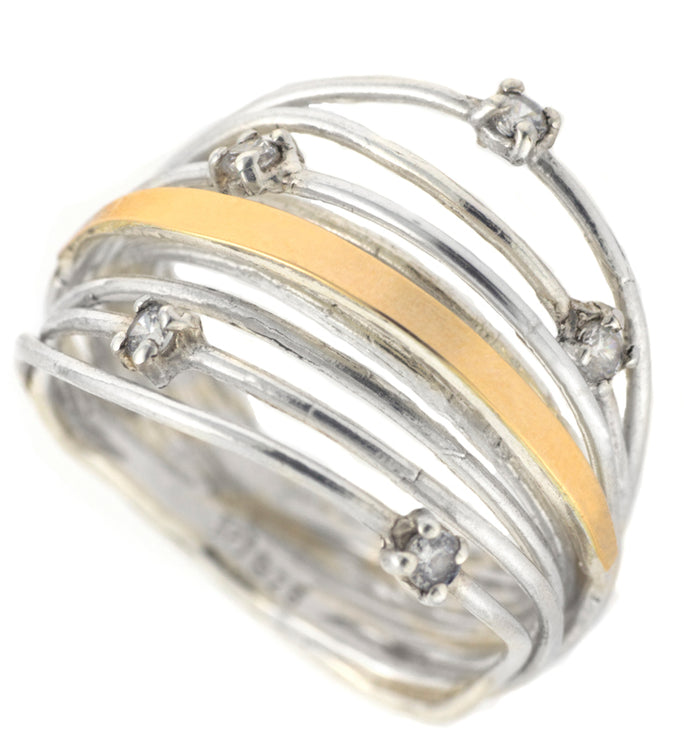 Silver & Gold Open Band Ring