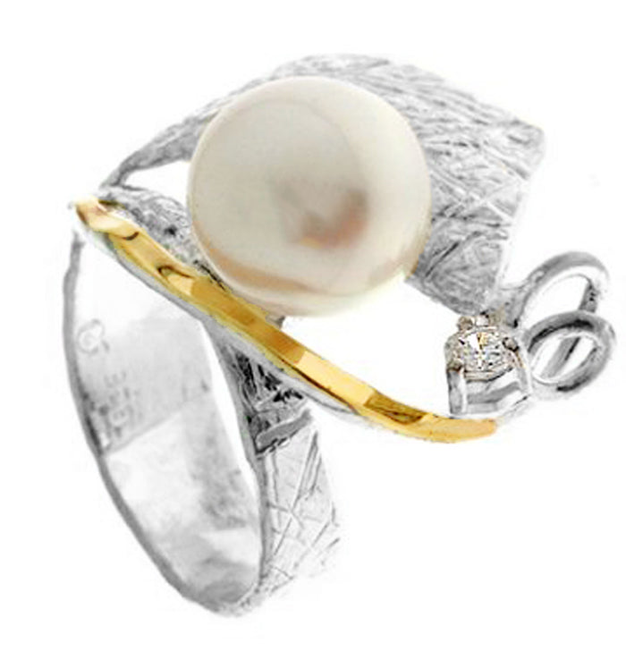 Silver & Gold Pearl Ring