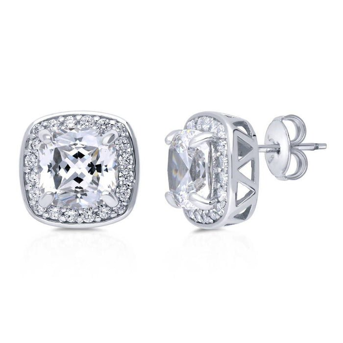Cushion Halo Studs made with Premium Zirconia