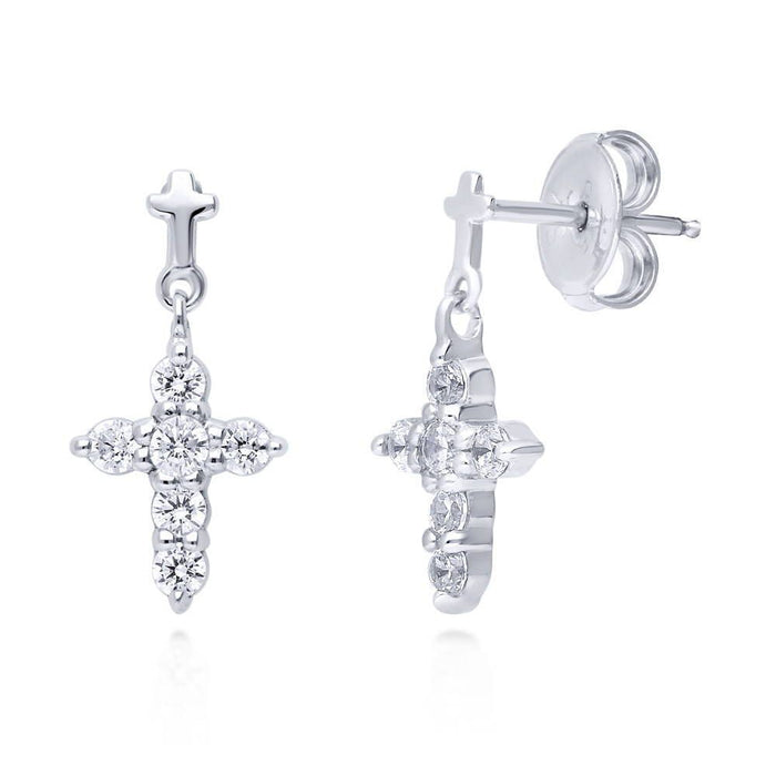 Cross Dangle Earrings made with Premium Zirconia