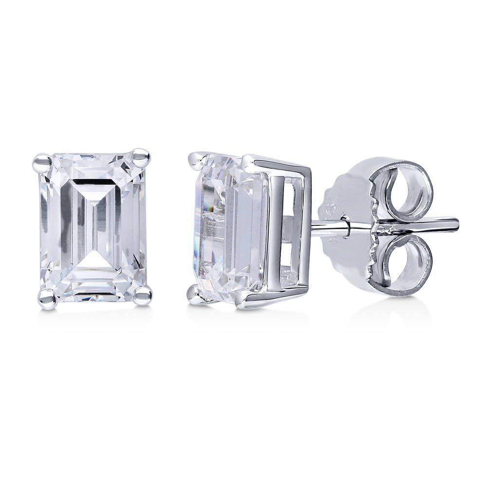 Emerald Cut Stud Earrings Made with Swarovski® Zirconia
