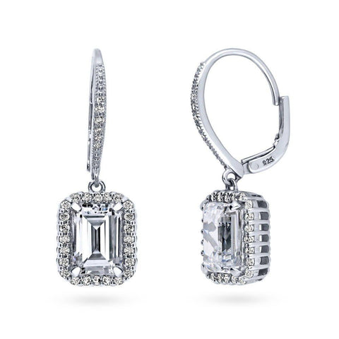 Emerald Cut Halo Leverback Dangle Earrings made with Premium Zirconia
