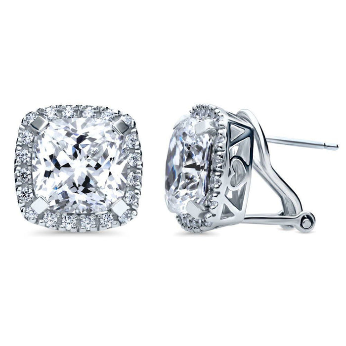 Cushion Cut Halo Statement Earrings made with Premium Zirconia