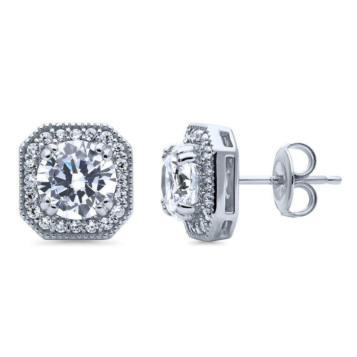 Art Deco Halo Studs made with Premium Zirconia