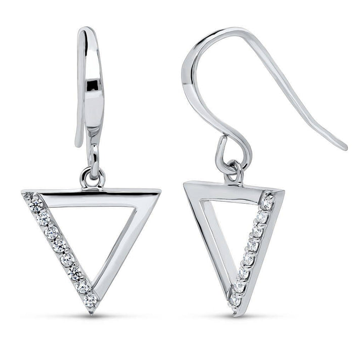 Triangle Dangle Earrings made with Premium Zirconia
