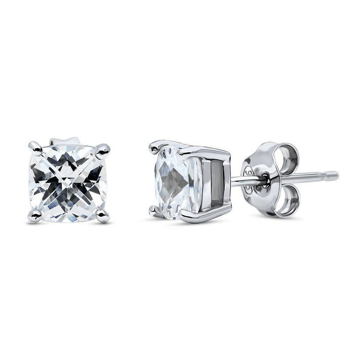 Checkerboard Cushion Cut Studs made with Swarovski® Zirconia