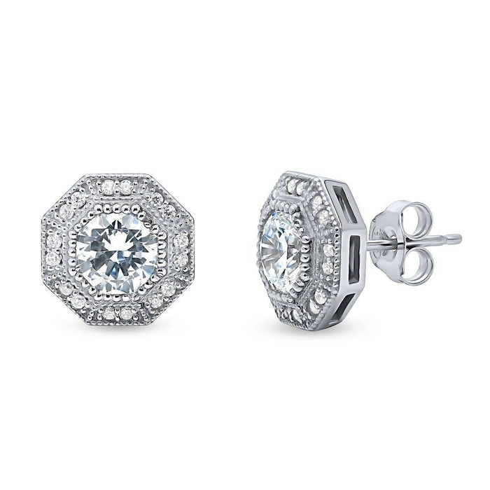 Halo Art Deco Studs Octagon Sun Cut Made with Swarovski® Zirconia