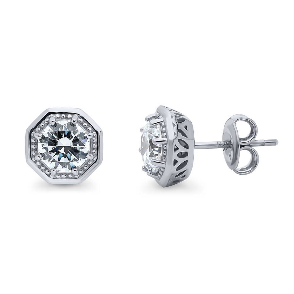 Art Deco Milgrain Studs made with Swarovski® Zirconia