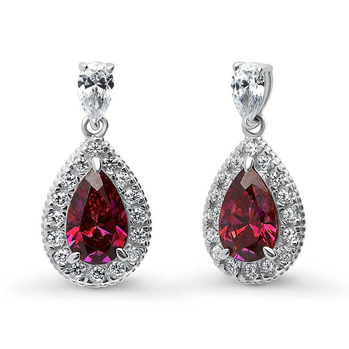 Ruby Pear Halo Earrings made with Swarovski® Zirconia