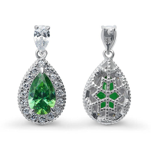 Emerald Pear Halo Necklace & Earrings Set made with Swarovski® Zirconia