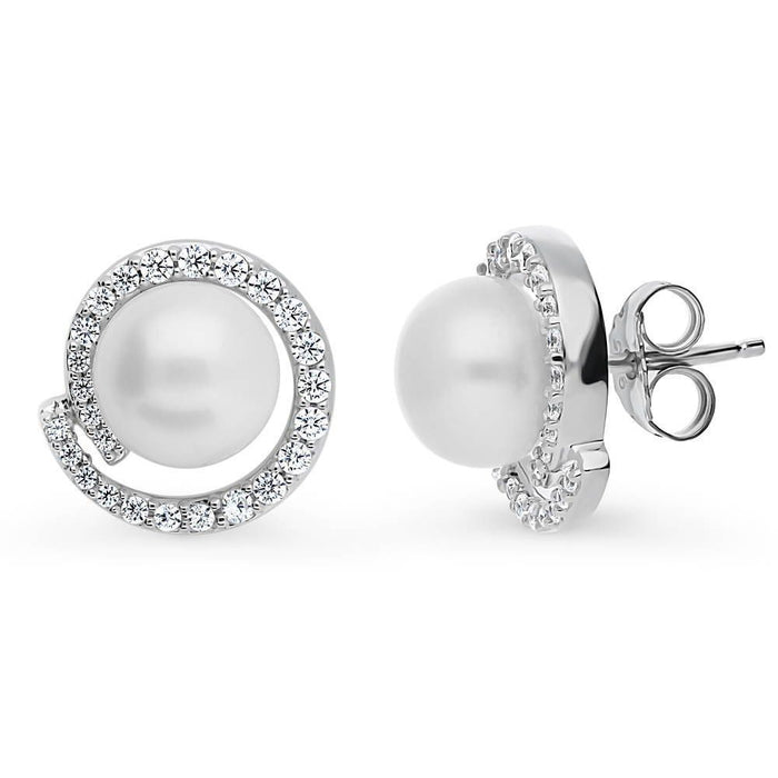 White Button Crystal Pearl Studs