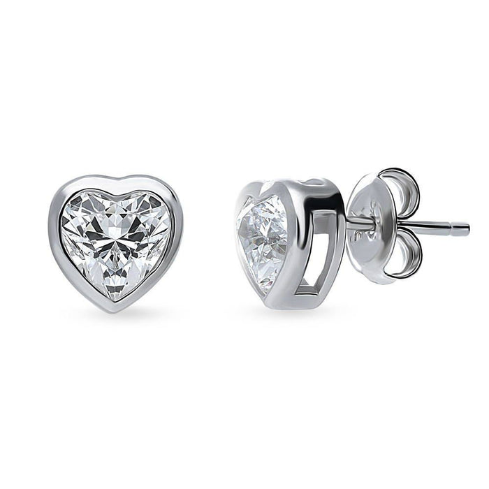 Solitaire Framed Heart Studs made with Swarovski® Zirconia