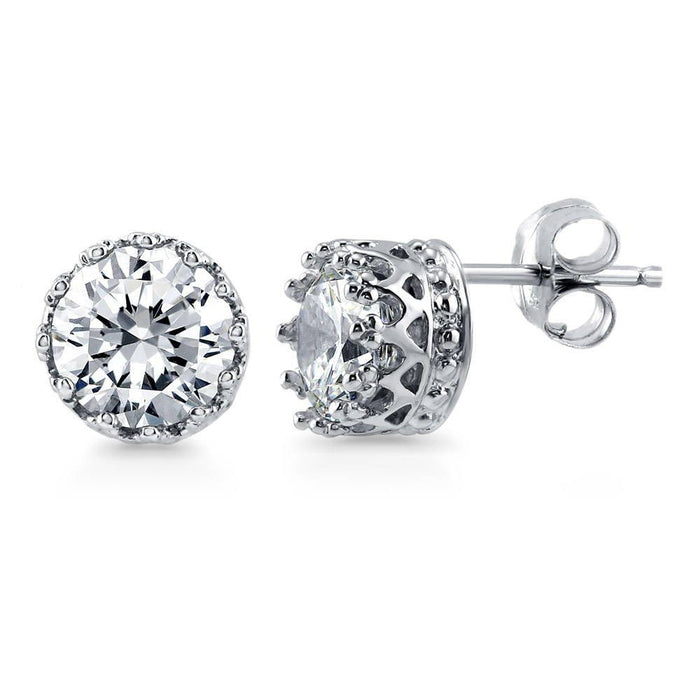 Round Solitaire Stud Earrings made with Premium Zirconia