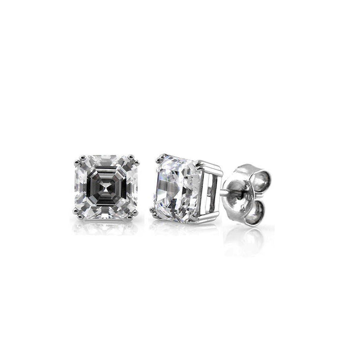 Asscher Cut Solitaire Studs made with Premium Zirconia