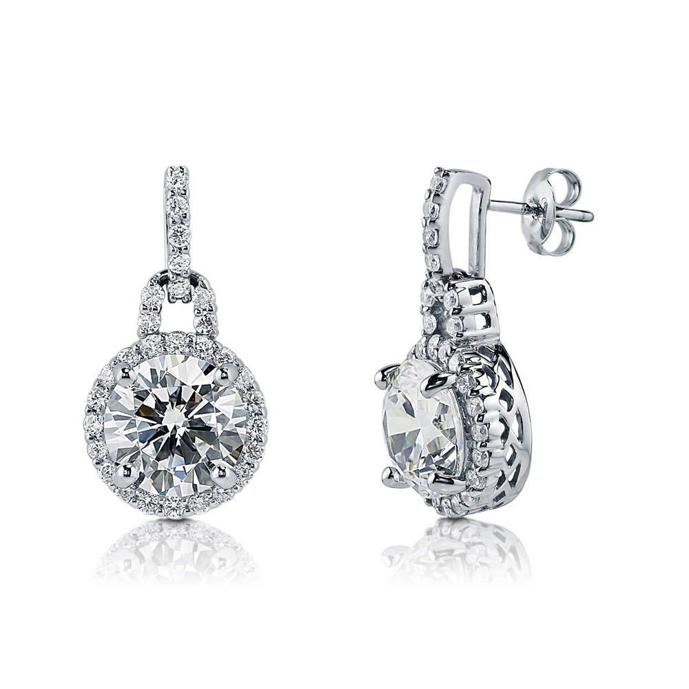 Round Halo Drop Earrings made with Premium Zirconia