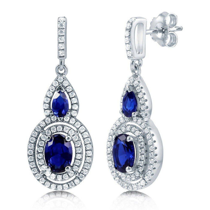 Blue Sapphire Oval Halo Dangle Earrings made with Premium Zirconia