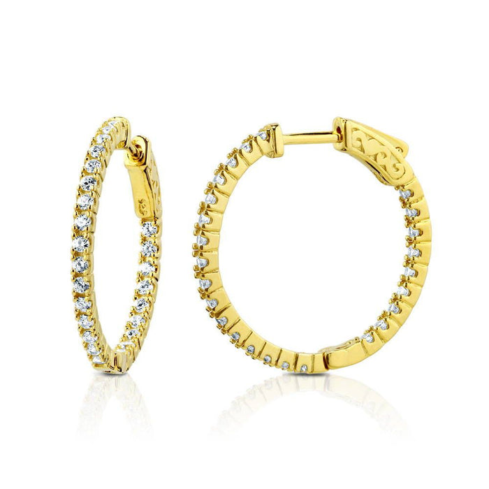 Gold Inside-Out Hoops made with Premium Zirconia