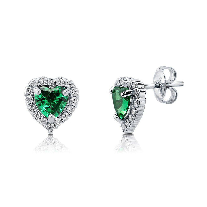Heart Shaped Halo Studs made with Premium Zirconia - Emerald Green