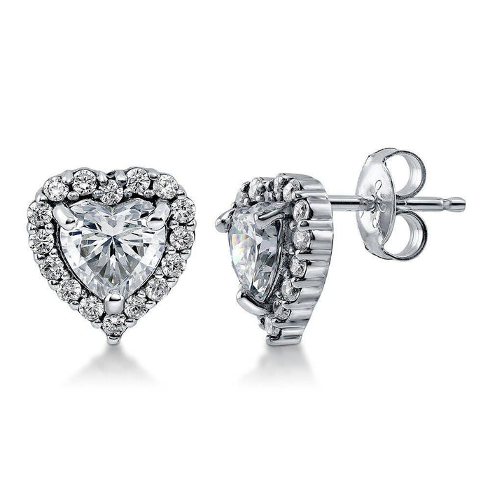 Heart Shaped Halo Studs made with Premium Zirconia