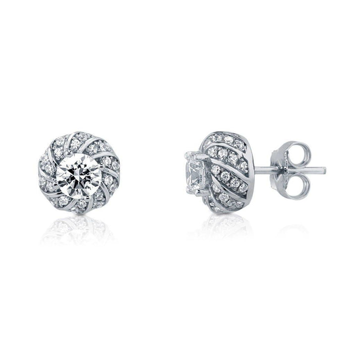 Glamorous Solitaire Studs Made with Swarovski® Zirconia