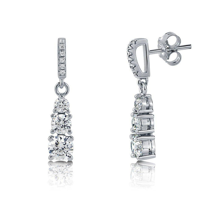 3-Stone Graduated Dangle Earrings made with Swarovski® Zirconia
