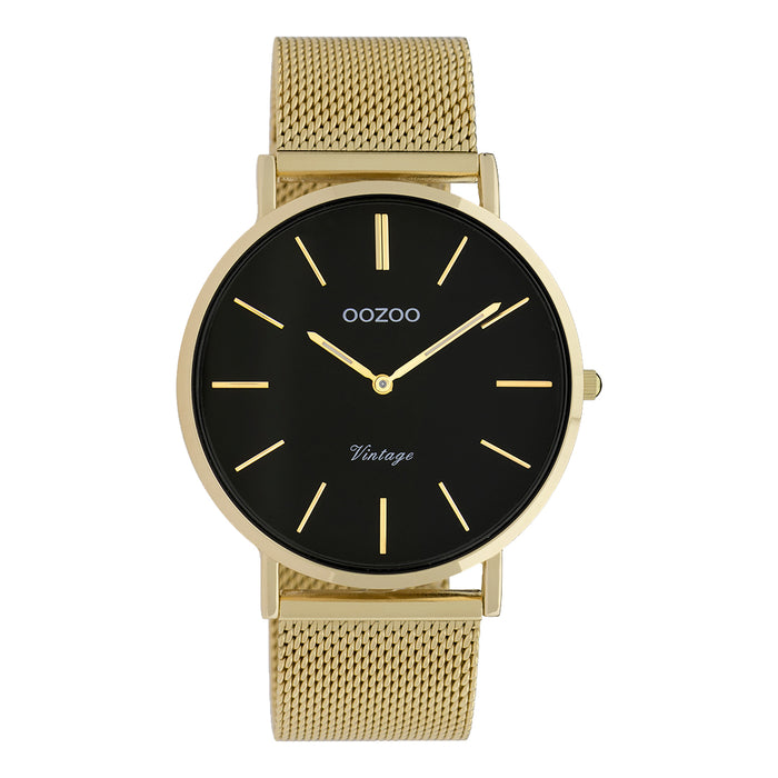 OOZOO Vintage Black and Gold Watch