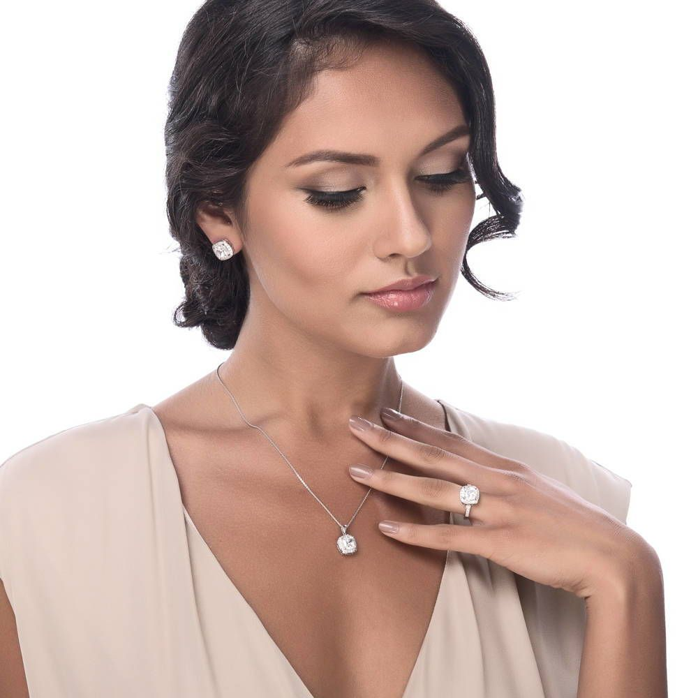 Cushion Halo Necklace made with Premium Zirconia