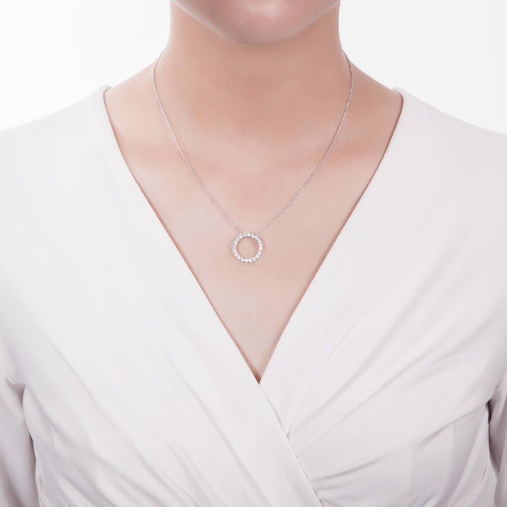 Open Circle Necklace made with Premium Zirconia