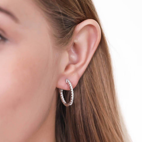 Oval Inside-Out Hoops made with Premium Zirconia
