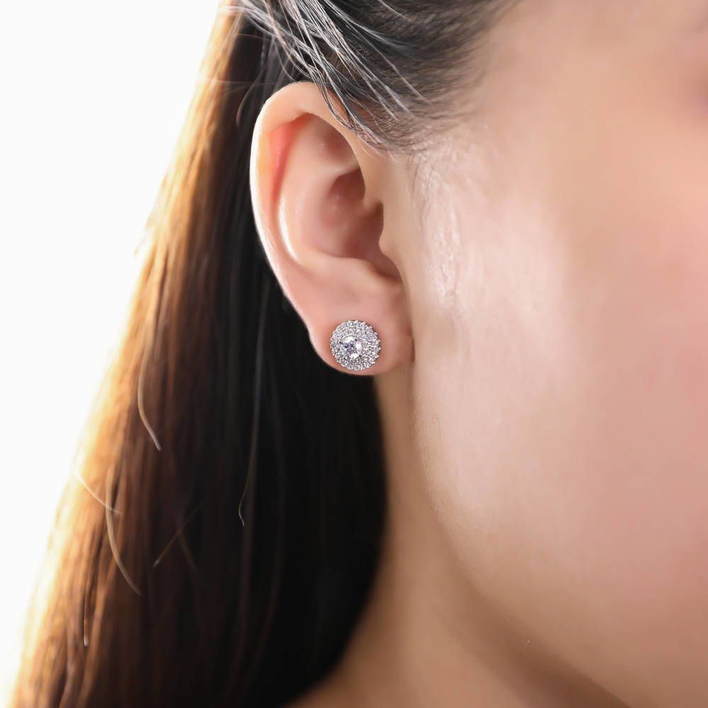 Halo Studs Made with Swarovski® Zirconia