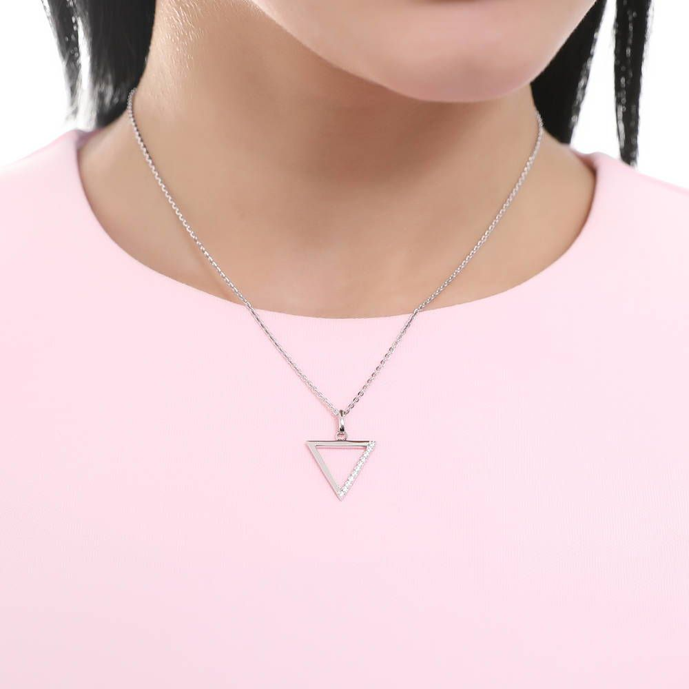 Triangle Necklace made with Premium Zirconia