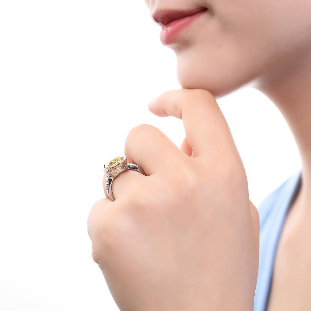 Canary Yellow Cushion Cut Statement Ring made with Premium Zirconia