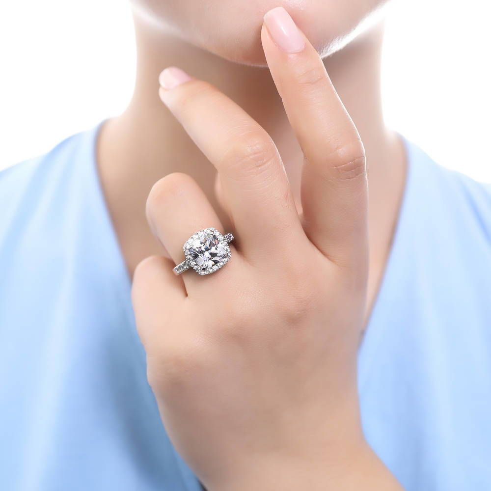 Cushion Cut Statement Ring made with Premium Zirconia