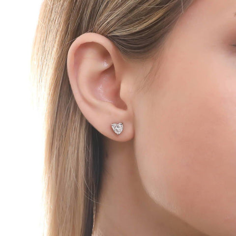 Heart Shaped Studs Made with Swarovski® Zirconia