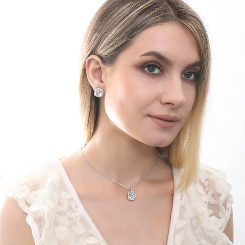 Statement Cushion Cut Halo Necklace and Earrings Set made with Premium Zirconia