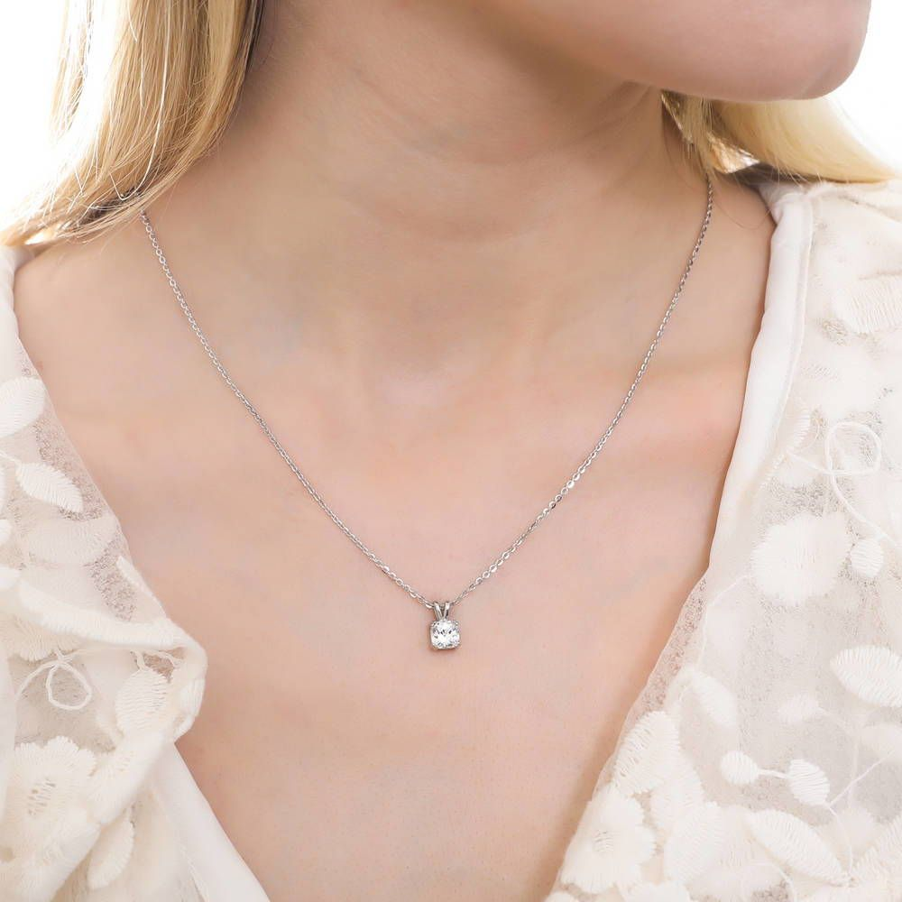 Checkerboard Cushion Cut Necklace made with Swarovski® Zirconia