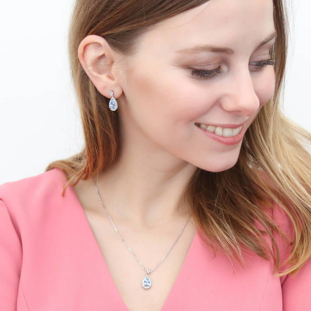 Blue Pear Halo Necklace & Earrings Set made with Swarovski® Zirconia