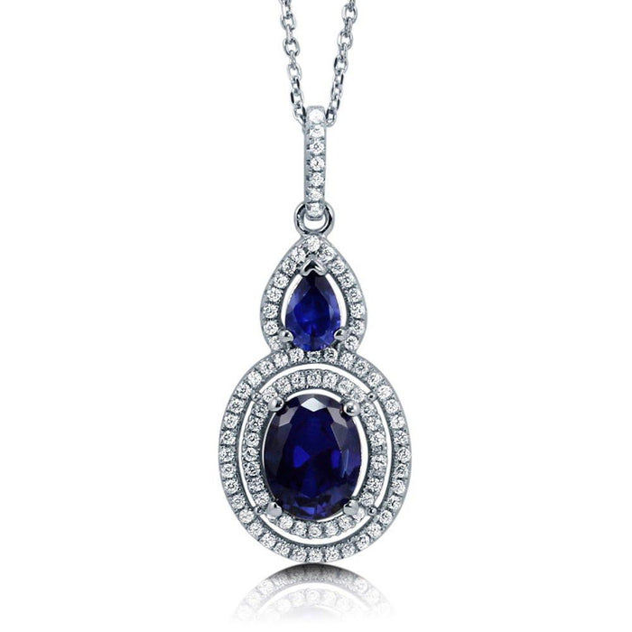 Blue Sapphire Oval Halo Necklace made with Premium Zirconia