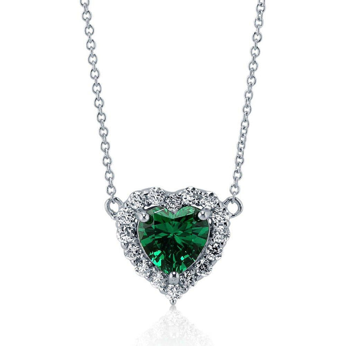 Heart Shaped Halo Necklace made with Premium Zirconia - Emerald Green