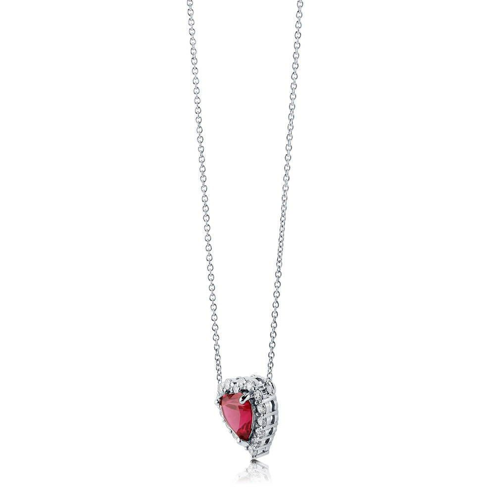 Heart Shaped Halo Necklace made with Premium Zirconia - Ruby Red