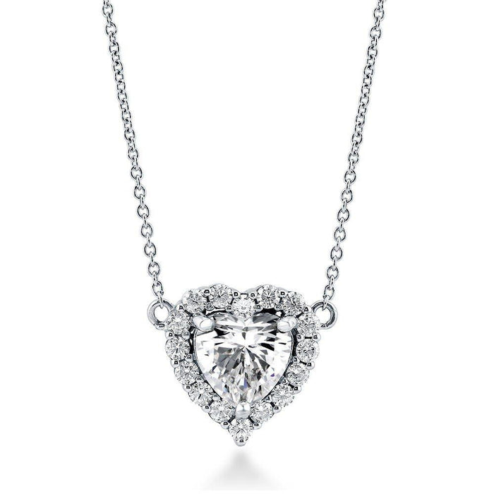 Heart Shaped Halo Necklace made with Premium Zirconia