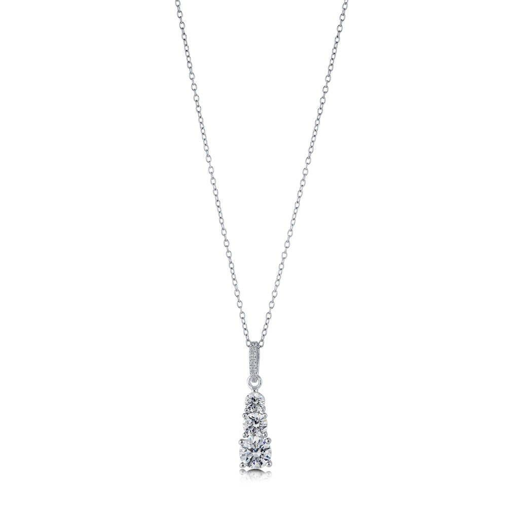 3-Stone Graduated Necklace Made with Swarovski® Zirconia