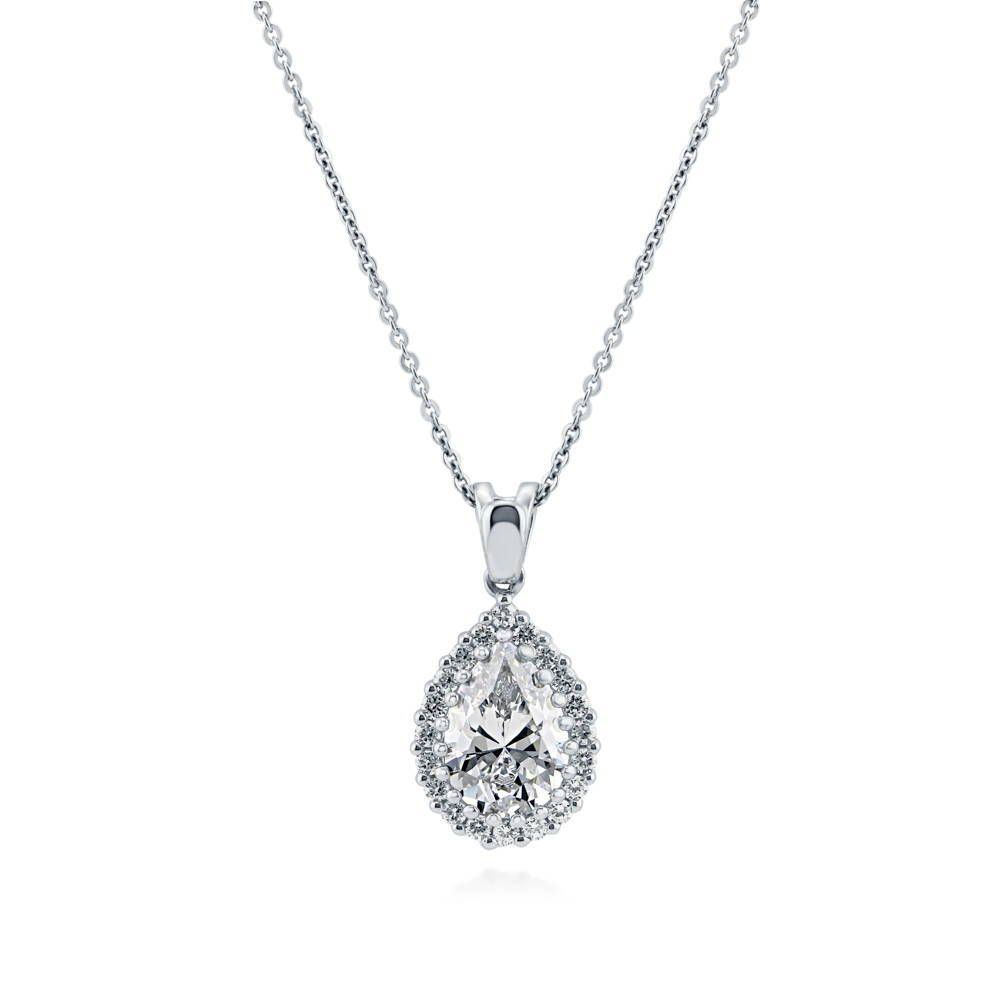 Pear-Shaped Halo Necklace made with Premium Zirconia