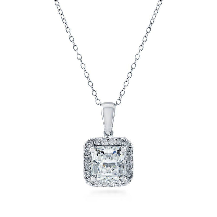 Princess Cut Halo Necklace made with Premium Zirconia