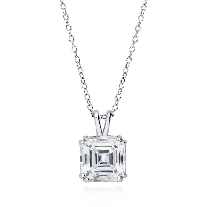 Asscher Cut Solitaire Necklace made with Premium Zirconia