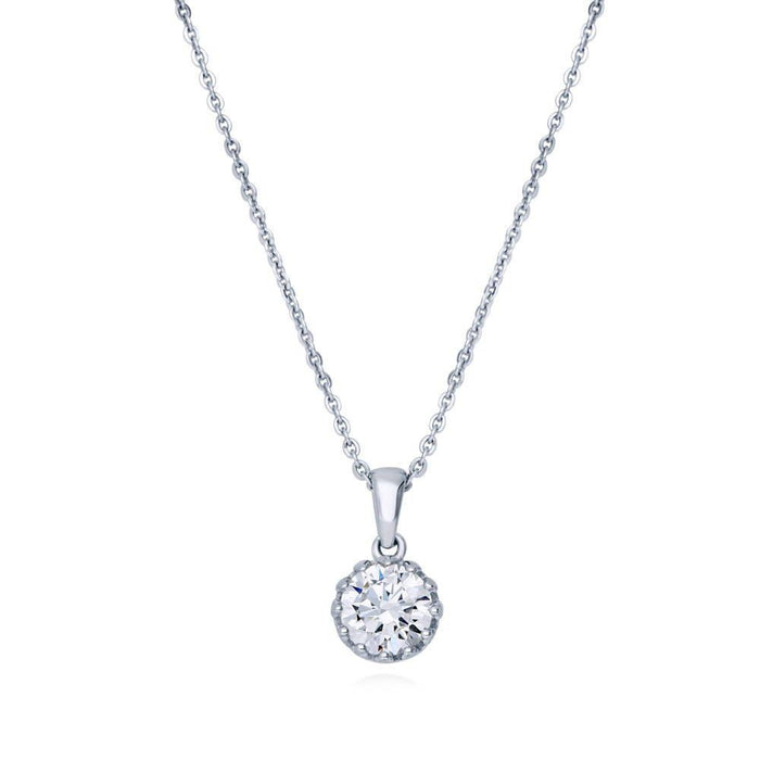 Round Solitaire Necklace made with Premium Zirconia